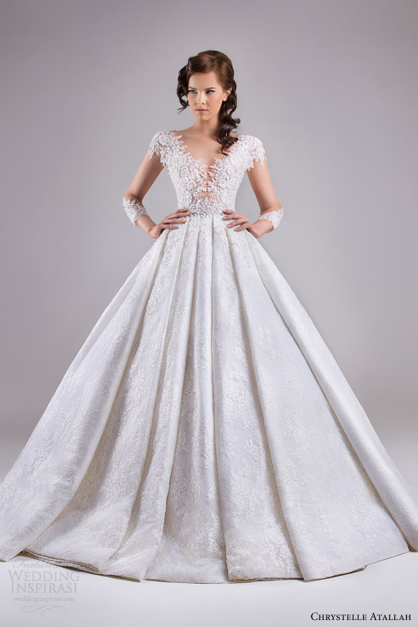 Long Sleeves Sheer Backless Haute Couture Wedding Dresses 2015 ...