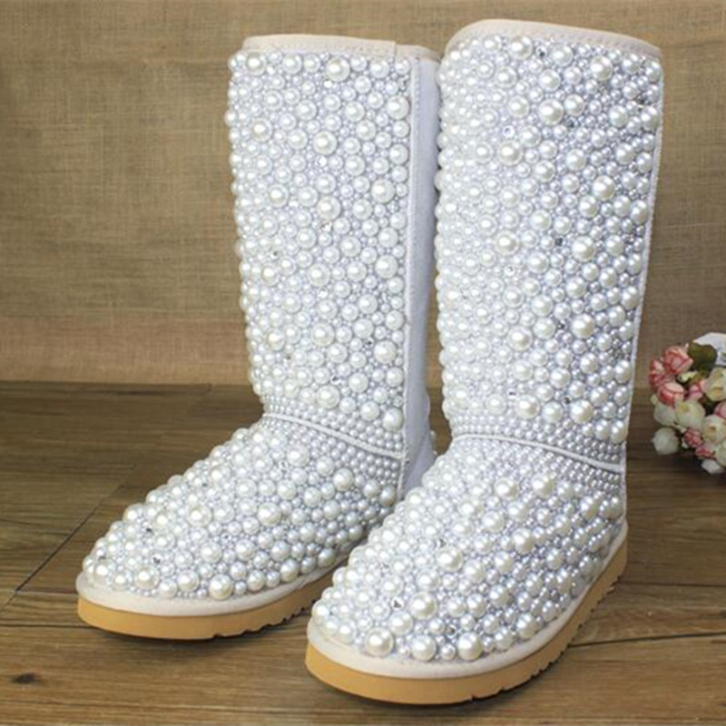 2016 Winter Woman's Fur Snow Boots Women Handmade Real Leather Boots Fashion Warm All Pearls Design Shoes Woman Eu 43