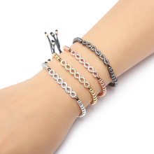 Women Bracelets 4 Colors Copper Beads Bangle Hand Braid Rope Free Size Cubic Zirconia MOLINUO