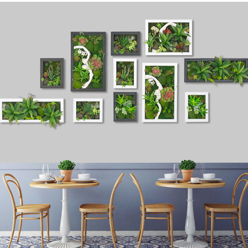 3D Potted Creative Metope Succulent Plants Frame Artificial Cactus Imitation Wood Photo Wall Hanger Artificial Plants Home Decor