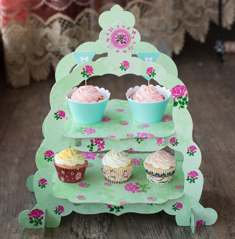 Free Shipping Double Layer Green Flower Decoration Cupcake Cake