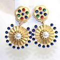 Famous Brand DG Baroque Style Gold Plated Big Flower Pearl Crystal Round Circle Sector Dangle Earrings Luxury Jewelry