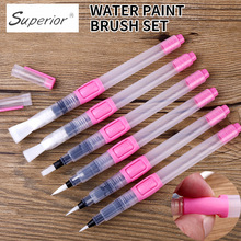 BGLN 6Pcs Water Brush Water Paint Brush Set Large Capacity Soft Watercolor Painting Brush Pen For