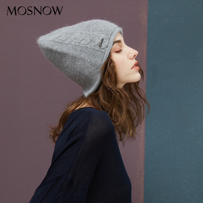 2018 New Women Baggy Bonnet Beanies Female Rabbit Hair Wool Knitted Winter Hats Soft Skiing Slouchy Beanie With Back Opening