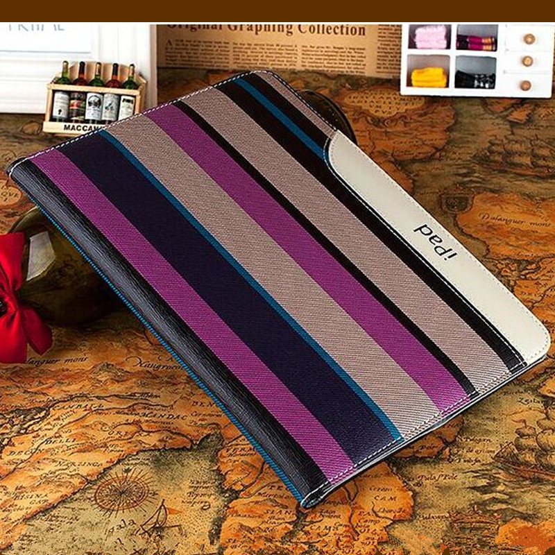 Luxury New Fashion Stripes Design Leather Case for iPad 2 3 4 Smart Cover Ultra Thin Tablet Case 9.7 Inch for iPad 2 New iPad 3 back shell for new ipad 9 7 2017 genuine leather cover case for new ipad 9 7 inch a1822 a1823 ultra thin slim case protector