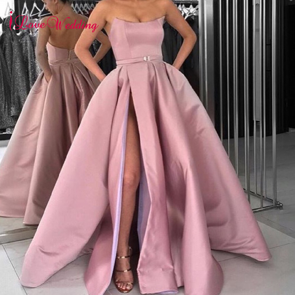 iLoveWedding Simple Design 2018 Strapless Dusty Pink High Slit Floor Length Ball Gown Long Dresses Evening