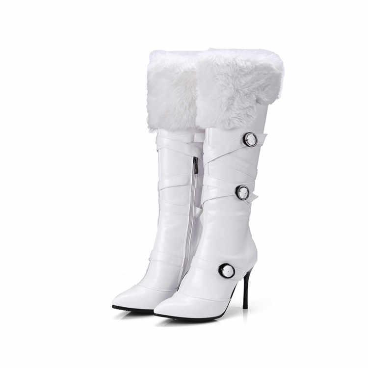 MLJUESE 2018 kadın diz yüksek çizmeler kış kısa peluş siyah renk yüksek topuklu toka askı fermuarlar çizmeler boyutu 34 -43