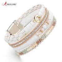 Amorcome Wit Lederen Armbanden voor Vrouwen Rhinestone Crystal Metal Charm Wide Multilayer Wrap Armbanden & Bangles Sieraden