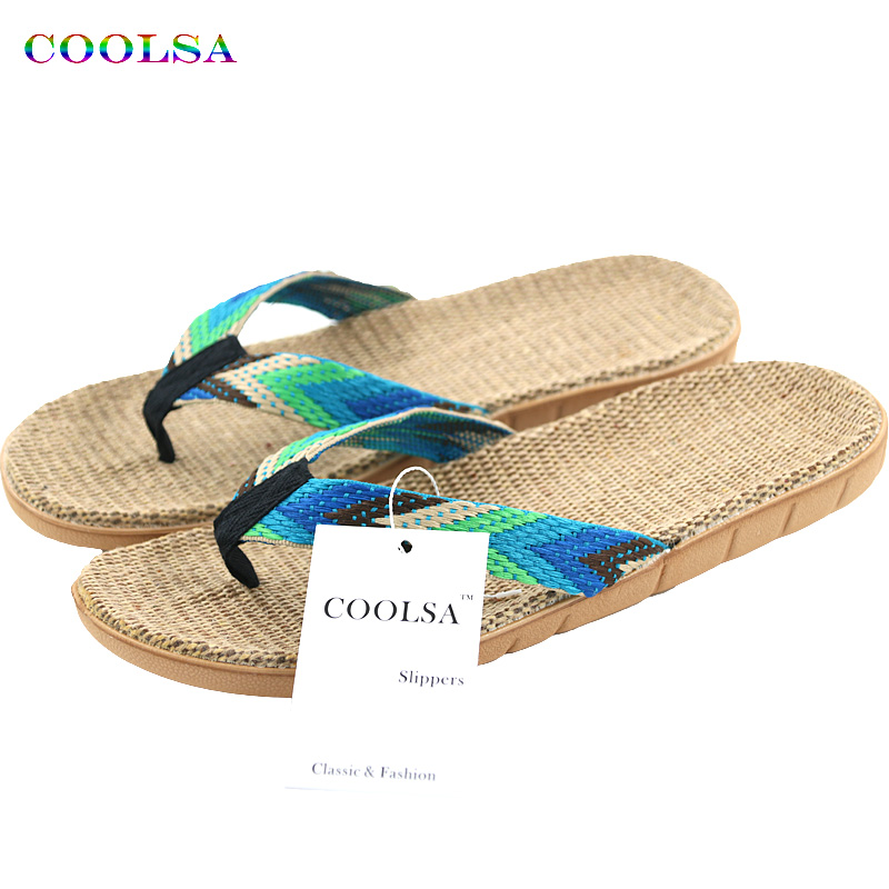 New Summer Men Linen Flip Flop Striped Ribbon Sandals Flat EVA Non-Slip Linen Slides Home Slipper Man Casual Straw Beach Shoes