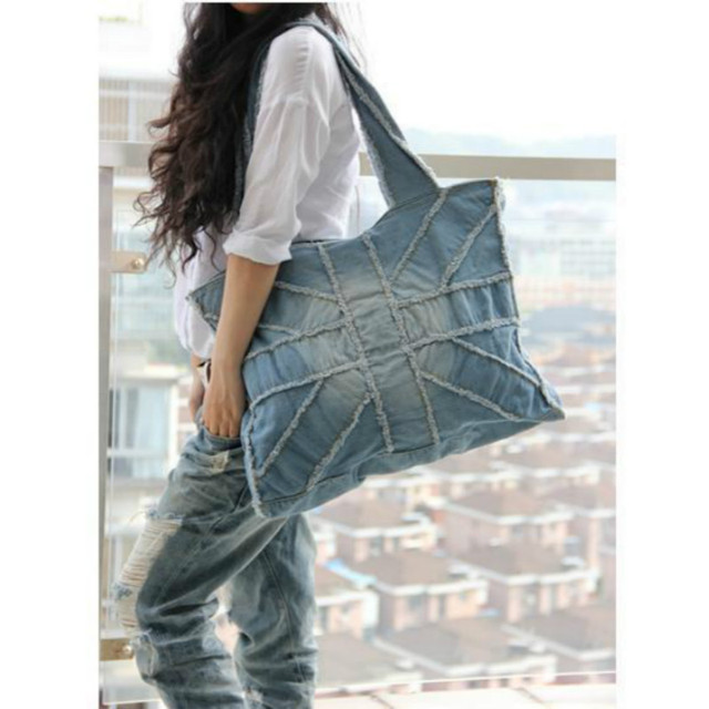 2018 New Denim Big Women's Shoulder Bag Jeans Handbags Zipper Personality Large-capacity Casual Female Solid Color Hot Totes