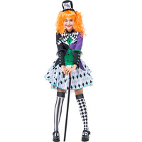 2019 New Arrival Colorful Fancy Alice Mad Hat Cosplay Garment Style Clown Party Garment with Top,skirt,hoop,sleeve and bow