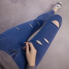 Бесплатная доставка 2017 Весной и летом женские плюс размер эластичные джинсы леггинсы узкие брюки карандаш брюки женские джинсы