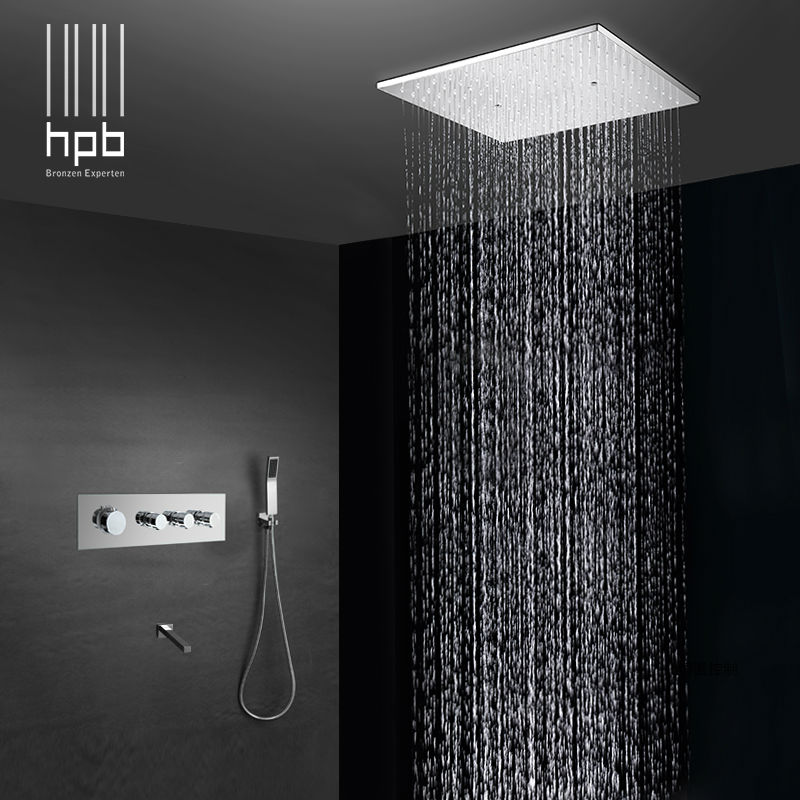 HPB Brass Bathroom Thermostatic Water Mixer Ceiling Mounted Shower Head Bath Rain Shower Set Faucet torneira banheiro HP2216 wall mounted bath shower ceramic thermostatic faucets valve bathroom shower water thermostatic control valve mixer faucet tap 55