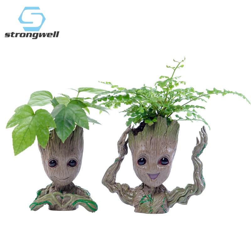 Strongwell Baby Groot Flowerpot Flower Pot Planter Figurines Tree Man Cute Model Toy Pen Pot Garden Planter Flower Pot Gift