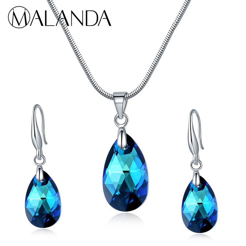 MALANDA Fashion Water Drop Crystal From Swarovski Set Necklace Drop Earrings For Women Jewelry Sets Wedding Party Girls Gift pair of graceful faux crystal rhinestoned water drop earrings for women
