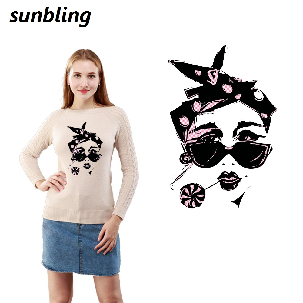 Sunbling Patches Women Head 3D Printed Patches Transfer Iron On Cloth T-shirt Clothes Patch Washable Sticker