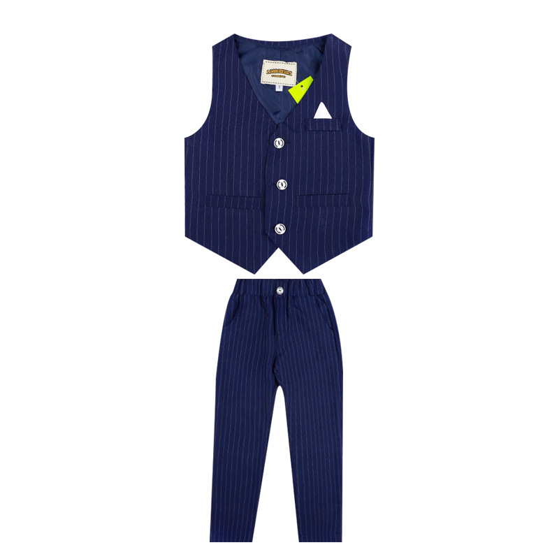 Flower Boys Formal Suits Vest Pants 2pcs School Kids Weeding Birthday Dress Children's Day Chorus Show Piano Performance Costume 4