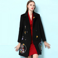 Nuovo Nero di Modo Solido Plus Size di Lana Donna Autunno Inverno Cappotto Lungo Ricamo Doppio Petto Con Scollo A V Giacca Cappotti Casuali