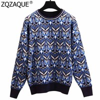New Fashion Fall Winter Knitwear For Women All match Loose Warm Sweaters Lurex Owl Patterns High Quality Knit Jumper Tops SY1913
