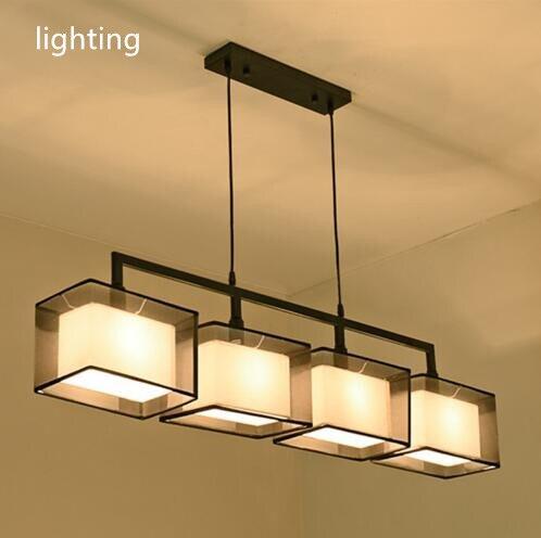 Qualité 2 3 4 têtes lumières cordon luminaire moderne nordique tissu suspension lampe suspension assis salle à manger tissu suspension