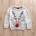 2016 New Boys Christmas Deer Sweater Jacquard Cotton Knitted Cotton Sweaters  Kids Children Boy Tops Clothes For Autumn Winter