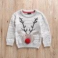 2016 Novos Meninos Cervos Do Natal da Camisola Jacquard de Algodão Blusas De Malha De Algodão Crianças dos miúdos Menino Encabeça Roupas Para Outono Inverno