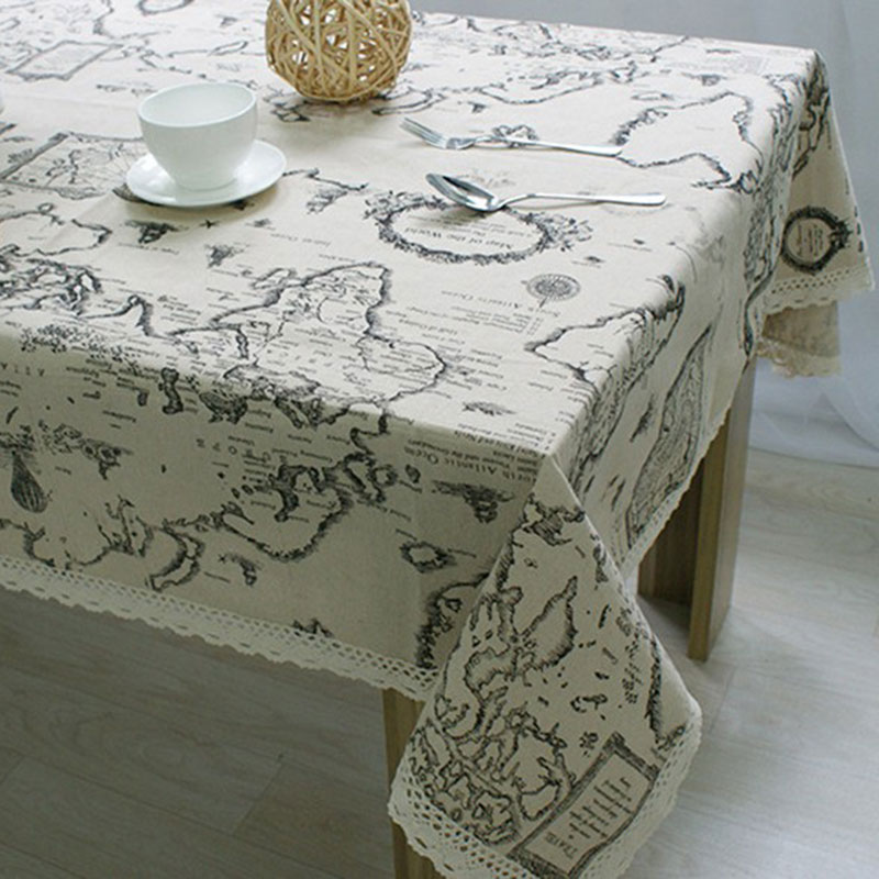 ₩Fudiya Table Cloth World Map High Quality Lace Tablecloth
