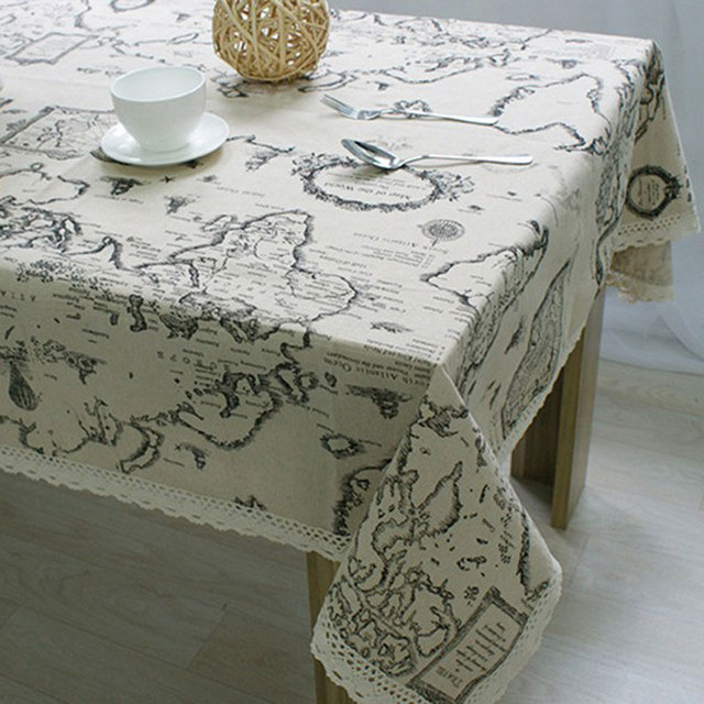 Fudiya Table Cloth World Map High Quality Lace Tablecloth Decorative Elegant  Table Cloth Linen Table Cover