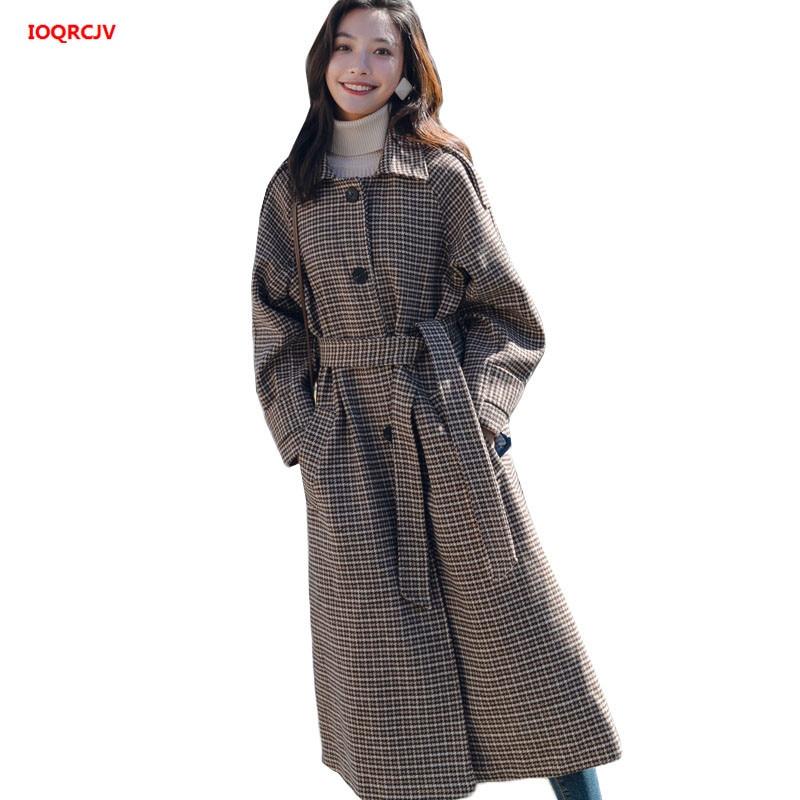 2018 2 Mélanges color Manteaux 317 Nouvelle Hiver Épais De Longue Laine Femmes Vintage 1 Grande Taille Automne Manteau Veste Femelle Color coréen Plaid Section 4gfnZwpqvx