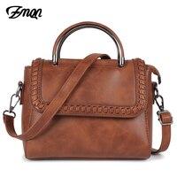 ZMQN Crossbody Bags For Women Leather Retro Bags Ladies Handbag Weave Hasp Shoulder Bag Famous Brand