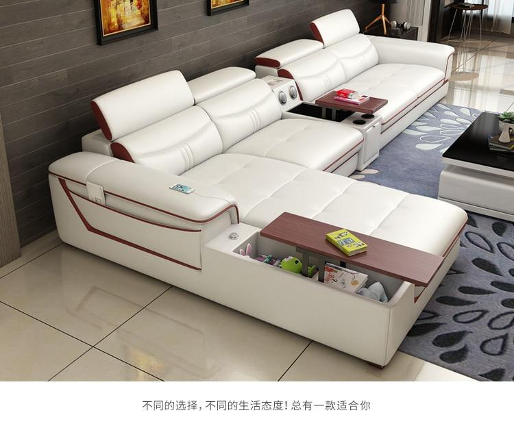Furniture Sofa-Set Canape Bluetooth-Puff L-Shape Living-Room Genuine-Cow-Leather Asiento