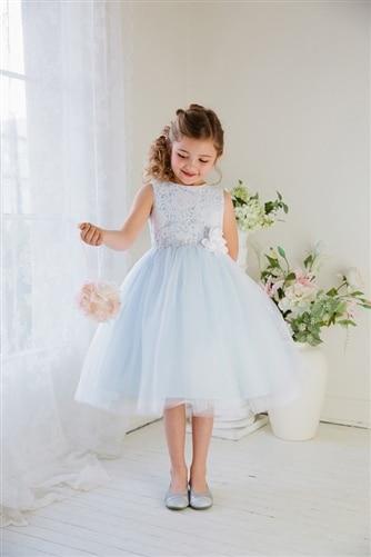 Light Blue Lace Top Girl Communion Dress A Line Tulle Skirt Flower Girl Dress Sleeveless Tea Length Kids Beauty Pageant Dresses