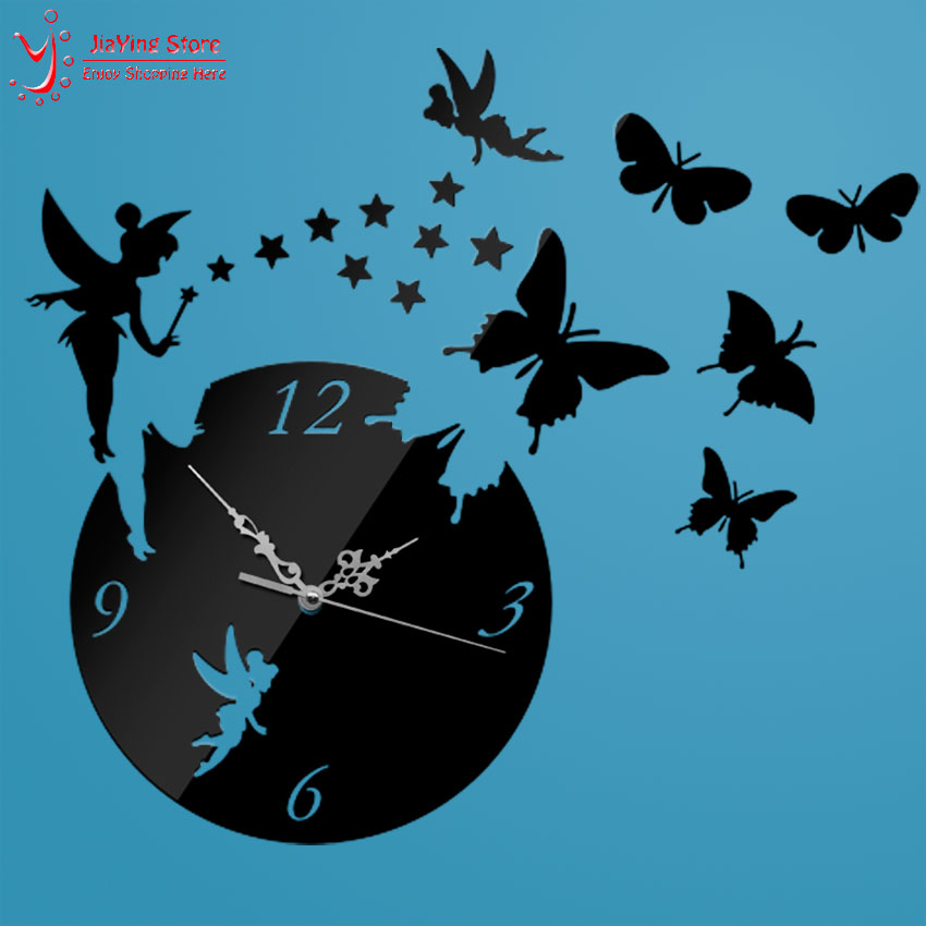 Z025 Diy Fashion Home Decoration Butterfly Wall Sticker Mirror Surface Mirror Clock Decal Living Room Mute Wall Clock Home Decor