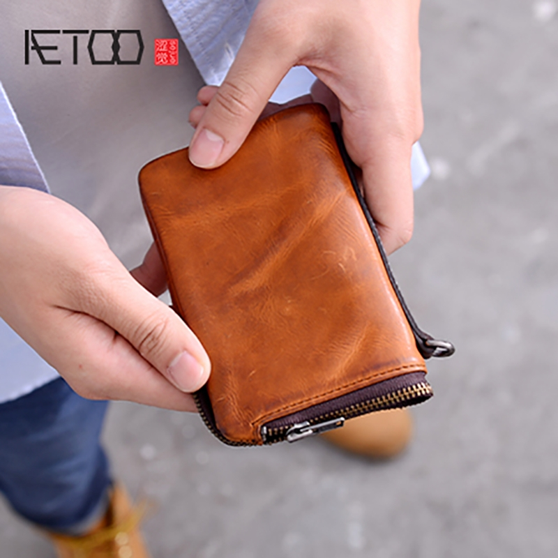 AETOO Men s wallet short leather handmade multifunctional card zipper hand bag cowhide Youth Money Clip