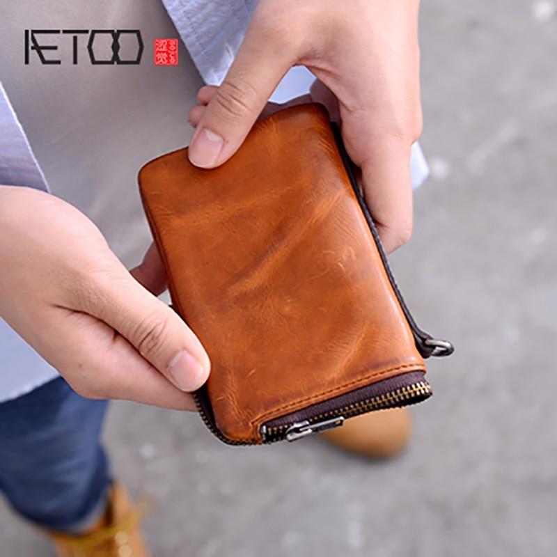AETOO portefeuille homme court cuir fait à la main multifonctionnel carte zipper sac à main peau de vache jeunesse pince à billets-in Portefeuilles from Baggages et sacs    1