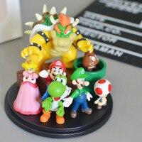 Super Mario Bros Toy Bowser Princess Peach Yoshi Luigi Toad Goomba PVC Action Figure Collectible Model