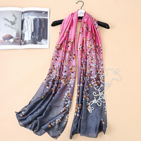 180 см * 90 см 2017 Новый модный бренд дизайн пузырьки градиент цвета Печатный длинный шелковый шарф большие женские шарфы шали Hijabs SK054