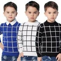 ブルーカジュアル格子縞の幼児の男の子のセータープルオーバー黒綿かぎ針編みの服子供のための緑春子供ニット秋