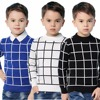 Blue Casual Plaid Toddler Boys Sweaters Pullovers Black Cotton Crochet Clothing For Childrens Green Spring Kids Knitwear Autumn