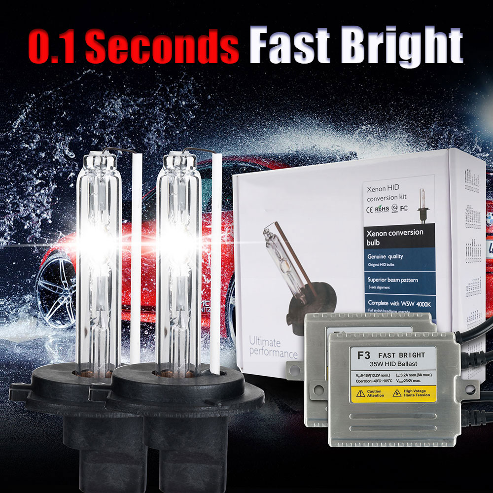 0.1 Seconds fast bright H1 xenon F3 AC12V 35W xenon lamp hid KIT H3 H1 H4 H7 H11 9005 9006 881 HID xenon light 4300k 5000k 6000k