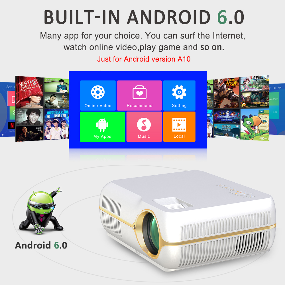 Everyone Gain A10 4200 lumens LED Portable Projector Upgrade Android 6.0 WiFi Cinema Proyetor Full HD Home Theater Video Beamer  1