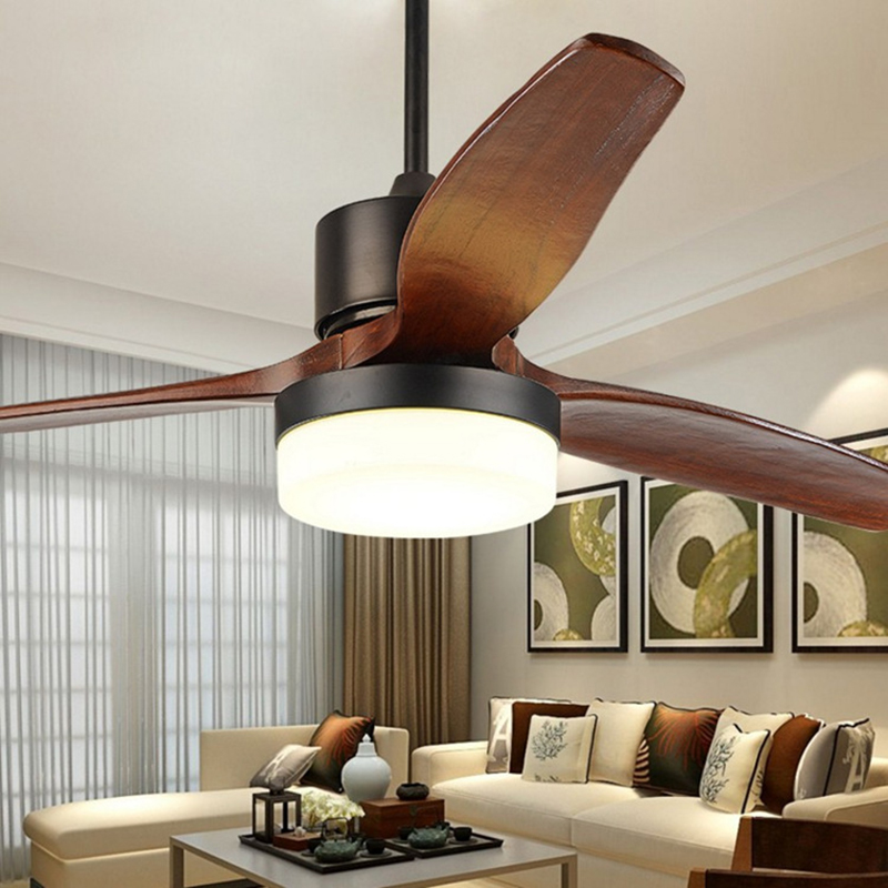 Retro Scandinavian fan light three hair leaves ceiling fan light Chinese style solid wood lamp living room lamp ultra quiet rest