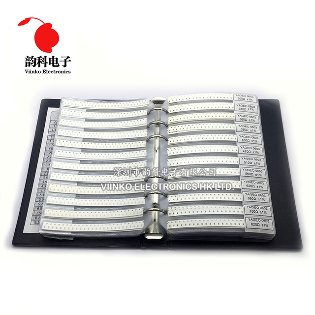 0603 SMD Resistor Sample Book 1% 1/10W 0R 10M 170valuesx25pcs=4250pcs Resistor Kit 0R~10M 0R 1R 10M