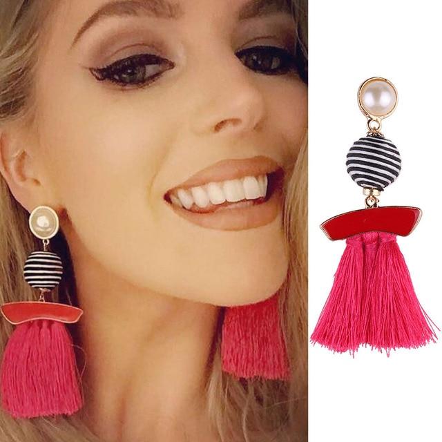 Best Lady Fringe Drop Earrings Fashion Women Statement Tel Jewelry Multi Color Wedding Dangle Earring