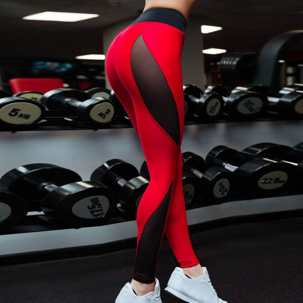 2019 High Waist Sexy Mesh Patchwork Women's Leggings Polyester Red Black Ankle-Length Jeggings Push Up Workout Lady's Legging