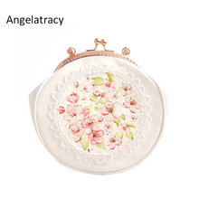 купить Angelatracy 2018 Lolita Style Circular Floral Lace Chain Flower Print Metal Frame Hasp Crossbody Women Shoulder Tote Shell Bag по цене 1823.67 рублей