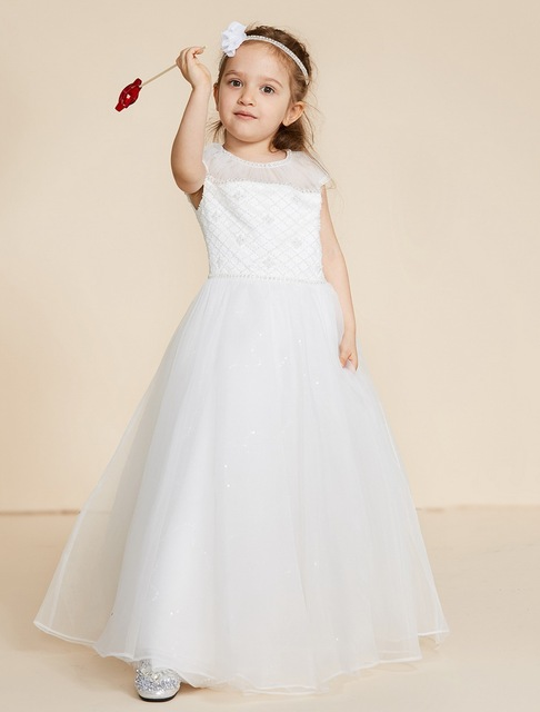 Lan ting bride ball gown floor length flower girl dress lace tulle lan ting bride ball gown floor length flower girl dress lace tulle sleeveless jewel neck with mightylinksfo