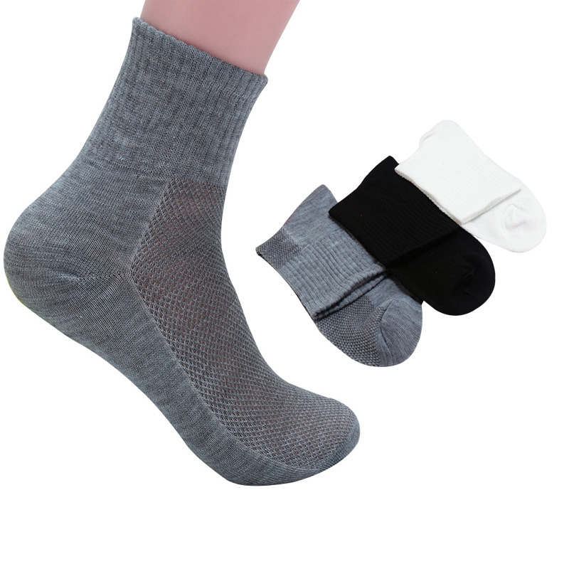 6 Pairs Men Socks Comfortable Breathable High-Quality Solid Color Mesh Popular Personality Fashion Anti-friction Men Cotton Sock