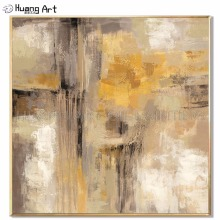 Artist Hand-painted High Quality Modern Abstract Oil Painting on Canvas Yellow for Living Room Decoration