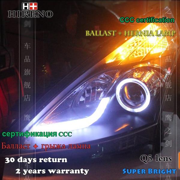 Hireno Headlamp for 2009-2011 Nissan Altima teana Headlight Assembly LED DRL Angel Lens Double Beam HID Xenon 2pcs